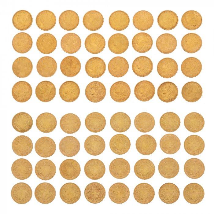 Mică colecție de 32 monede din aur, fiecare echivalând 20 franci aur elvețieni