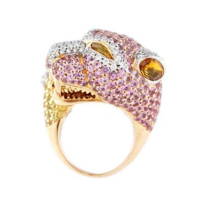Inel din aur, pavat cu safire roz, galbene, diamante și citrin