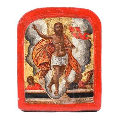"""Icoană pe lemn, """"Învierea Domnului"""", școală grecească, sfârșitul sec. XVIII"""