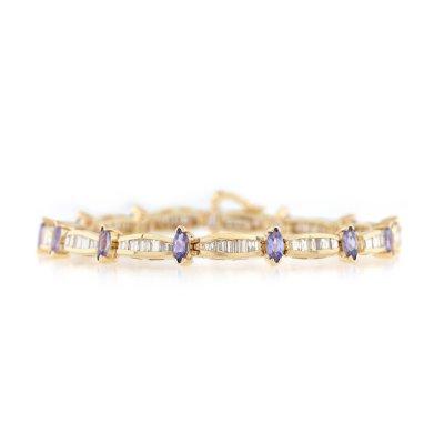Brățară din aur, decorată cu diamante și tanzanite