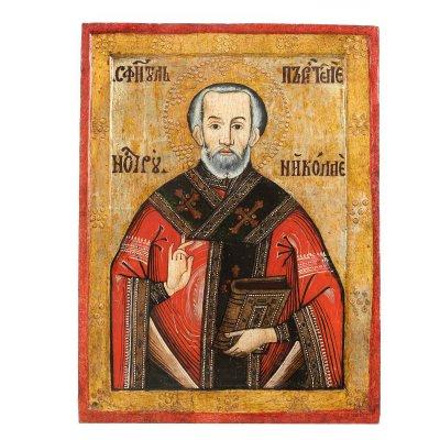 """Icoană pe lemn, """"Sfântul Nicolae"""", atribuit zugrav Popa Nicolae din Feisa, a doua jumătate a sec. XVIII, raritate extremă, de colecție"""