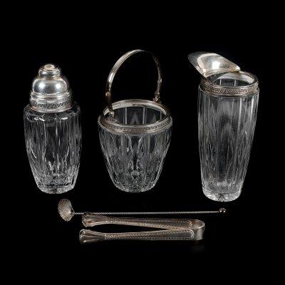Set Mid-Century pentru preparat cocktail-uri, din cristal Echt Bleikristall și argint, în cutie originală